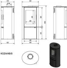 Чертеж и размеры печи-камина Kratki KOZA/AB/S/2