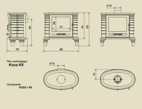 Чертеж и размеры печи-камина Kratki Koza/K8 (термостат)