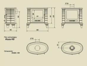 Чертеж и размеры печи-камина Kratki Koza/K8 (турбина)