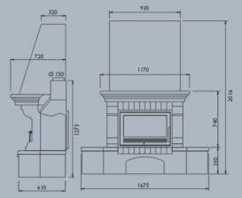 Чертеж и размеры печи-камина ABX Oxford Klasik углового