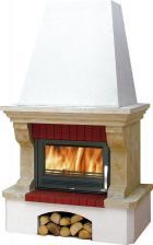 Печь-камин ABX Oxford Klasik, белый цоколь (балка песчаник)