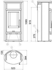 Чертеж и размеры печи-камина ABX Polar 4