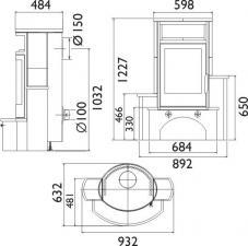 Чертеж и размеры печи-камина ABX Polar 6 каскадного