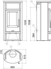 Чертеж и размеры печи-камина ABX Polar 8