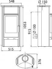 Чертеж и размеры печи-камина ABX Pori 5