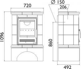 Чертеж и размеры печи-камина ABX Regina