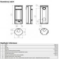 Чертеж и размеры печи-камина ABX Rennes 5