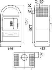 Чертеж и размеры печи-камина ABX Stockholm 8