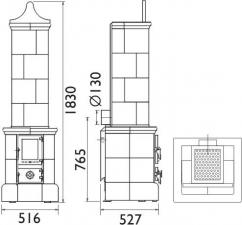 Чертеж и размеры печи-камина ABX Valdek