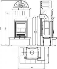 Чертеж и размеры печи-камина ABX Westfalia 710