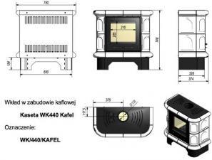 Чертеж и размеры печи-камина Kratki WK440
