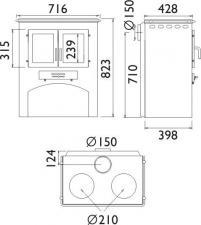 Чертеж и размеры кухонная плита ABX с духовкой