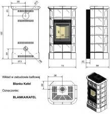 Чертеж и размеры печи-камина Kratki Blanka 8 kW stove