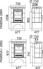 Чертеж и размеры печи-камина ABX Marina KP (прямой цоколь)
