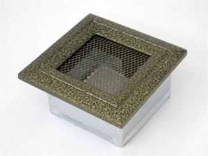 Вентиляционная решетка Kratki 11x11 Оскар черная/латунь