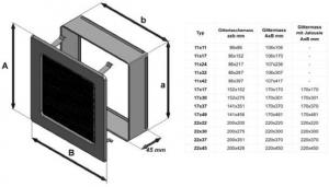 Фото чертежа и размера вентиляционной решетки Kratki 11x11 Черная/хром пористая