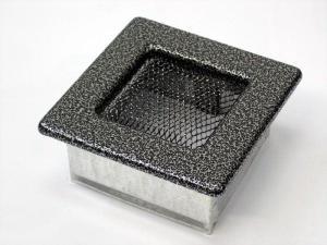 Вентиляционная решетка Kratki 11x11 Черная/хром пористая