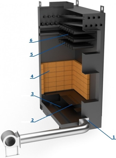 Промышленный котел длительного горения ЭКСТРА ДГ-100 в разрезе