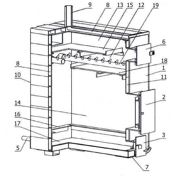 Схема устройства пиролизного котла Гейзер 10 кВт