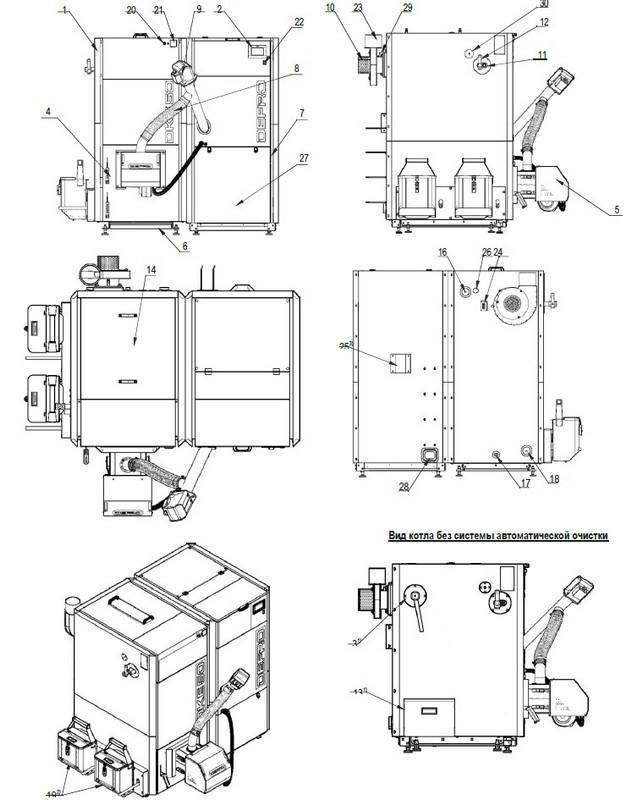 Устройство котла Defro Kompakt Eko Pell 40 кВт